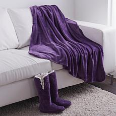 Soft & Cozy Plush Throw and Slipper Booties Set
