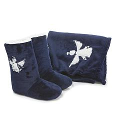 Soft & Cozy Throw and Slipper Booties Set