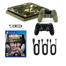 "Sony PlayStation 4 PS4 Slim 1TB Console with ""Call of Duty: WWII"" Game"