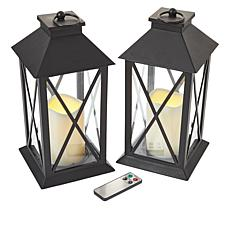 South Street Loft Set of 2 Large Lanterns with Remotes - Warm White