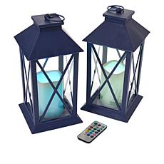 South Street Loft Set of 2 Large Lanterns w/Remotes - Color Changing