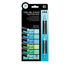 Spectrum Noir 6-piece Tri-Blend Marker Pens - Coastal Blends