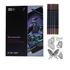 Spectrum Noir Metallic Markers 6-Pack with Stamp and Paper Pad Bundle