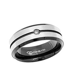 Stainless Black & White Diamond-Accent Wedding Band