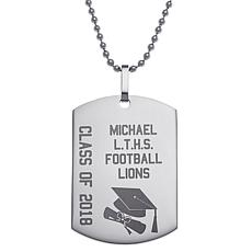 Stainless Steel Engraved Graduation Dog Tag Pendant with Chain