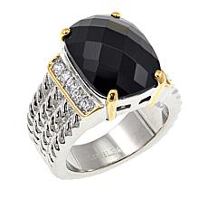 Stately Steel 2-Tone Black and White Crystal Ring