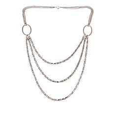 "Stately Steel 3-Row Popcorn Chain 25-1/4"" Necklace"