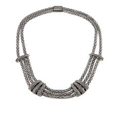 """Stately Steel 3-Row Popcorn Chain and Crystal 17-1/2"""" Necklace"""