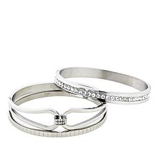 Stately Steel 3 Silvertone Bangle Bracelets with Snap-Lock Clasp