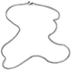 "Stately Steel 3mm 20"" Curb-Link Chain Necklace"