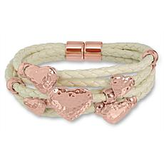 Stately Steel 5-Row White Leather Rosetone Heart Bracelet