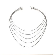 "Stately Steel 5-Strand Snake-Chain 24"" Necklace"