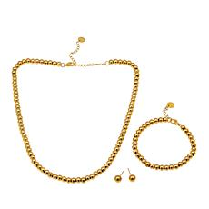 """Stately Steel Beaded 17"""" Necklace, 7"""" Bracelet and Stud Earring Set"""