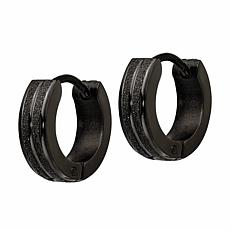 Stately Steel Black Laser-Etched Hoop Earrings - 4mm