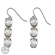 Stately Steel Crystal 3-Stone Drop Earrings