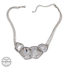 "Stately Steel Crystal-Accented  Multistrand 16"" Statement Necklace"