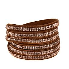 Stately Steel Crystal and Suede Wrap Bracelet