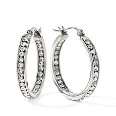 "Stately Steel Crystal Inside/Outside 1"" Hoop Earrings"