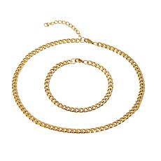 Stately Steel Cuban Chain Necklace and Bracelet Set