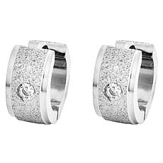 Stately Steel Cubic Zirconia Sandy Huggie Earrings