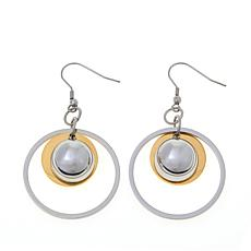 Stately Steel Disc and Ball Drop 2-Tone Earrings