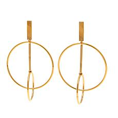 Stately Steel Double Circle Drop Earrings