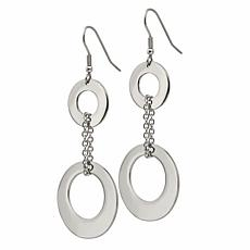 Stately Steel Graduated Circles Dangle Earrings