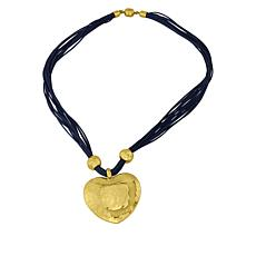 Stately Steel Hammered Heart Blue  Leather Multi-Strand Necklace