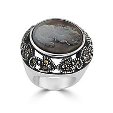 Stately Steel Marcasite Mother-of-Pearl Cameo Ring