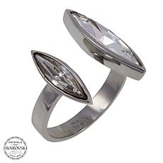 Stately Steel Marquise-Shaped 2-Crystal Open-Design Ring