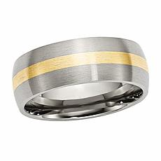 Stately Steel Men's 14K Yellow Gold Inlay 8mm Brushed Band Ring
