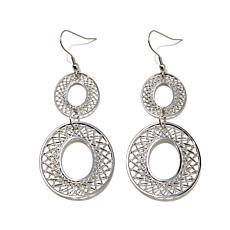 Stately Steel Multi-Sized Oval Filigree Drop Earrings