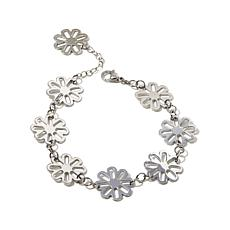 "Stately Steel Open-Design Flower-Link 7-3/4"" Bracelet"
