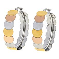 Stately Steel Overlapping Tri-Color Circle Hoop Earrings