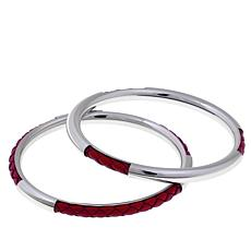Stately Steel Pair of Leather-Accented Bangle Bracelets