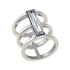 Stately Steel Rectangular-Cut Center Stone 3-Band Ring
