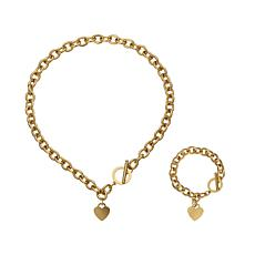 Stately Steel Rolo Chain Heart Drop Necklace and Bracelet Set
