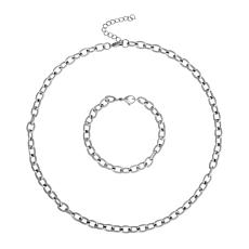 Stately Steel Rolo Chain Necklace and Bracelet Set