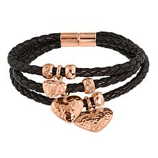 Stately Steel Rosetone Hammered Heart 3-Row Braided Leather Bracelet