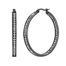 Stately Steel Round Inside-Outside Pavé Hoop Earrings - 1-1/2""