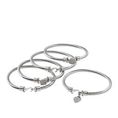 Stately Steel Set of 5 Spiral Bangle Bracelets with Crystal Accents