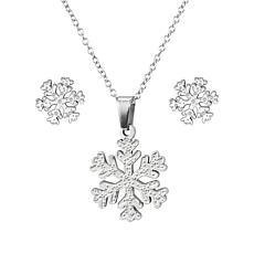 Stately Steel Snowflake Earrings and Pendant with Chain Set