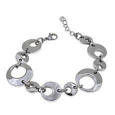 Stately Steel Stainless Steel Circle-Link Bracelet