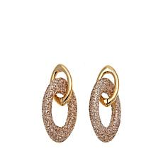Stately Steel Stardust Sparkle Oval Drop Earrings
