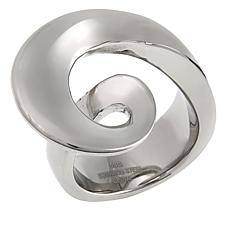 Stately Steel Swirl-Design Ring
