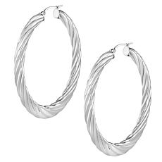 Stately Steel Tapered Cable Hoop Earrings