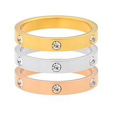 Stately Steel Tri-Color Stainless Steel CZ-Accented Stack Ring