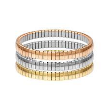 Stately Steel Tri-Color Stretch Stack Bracelet 3-piece Set