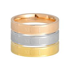Stately Steel Tri-Colored Roman Numeral Ring Set