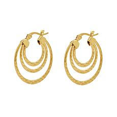 Stately Steel Triple-Round Hoop Earrings